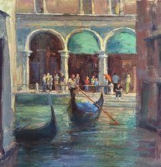 Busy City of Venice by Karen Leoni Oil ~ 18 x 18