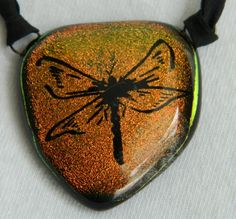 Dragonfly Engraved Dichroic Fused Glass Pendant by uniquenique, $30.00 #onfireteam #lacwe #tbec #fest #dragonfly #pendant #jewelry