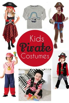 "kids pirate costumes - great ideas for Halloween, birthdays, world book day, talk like a pirate day or just plain ""for no reason"" fun! Diy Girls Pirate Costume, Diy Tin Man Costume, Toddler Pirate Costumes, Homemade Pirate Costumes, Pirate Kids, Female Pirate Costume, Pirate Halloween Costumes, Diy Costumes, Pirate Dress"