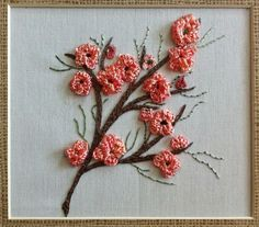 Peach Blossums Brazilian Embroidery