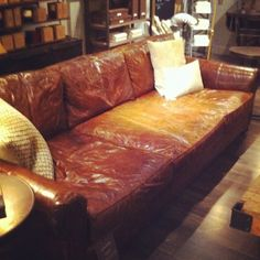 Comfy Leather Couches i love these deep seated, leather couches from restoration