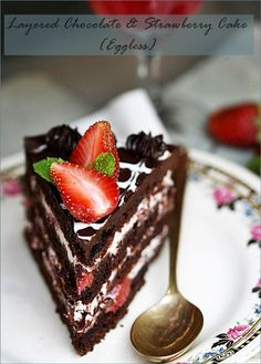 Eggless Layered Chocolate & Strawberry Cake with Balsamic Strawberry & Cream Filling recipe from Davidson Bell About Baking Eggless Chocolate Cake, Chocolate Strawberry Cake, Strawberry Cakes, Chocolate Strawberries, Strawberries And Cream, Chocolate Desserts, Strawberry Balsamic, Strawberry Filling, Chocolate Cream