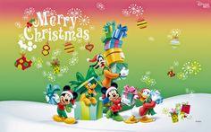 Mickey, Goofy, Donal, minnie y Pluto en Navidad