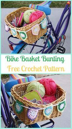 Crochet Bike Basket Bunting Free Pattern - Crochet Bicycle Fashion Patterns