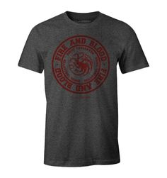 T-shirt Game of Thrones - Fire and Blood Col rond Manches courtes Sérigraphie recto coton Tailles Européennes Sous licence officielle tshirt Sweat Shirt, Dc Comics, Game Of Thrones, Officiel, Blood, Fire, Licence, Mens Tops, Shirts