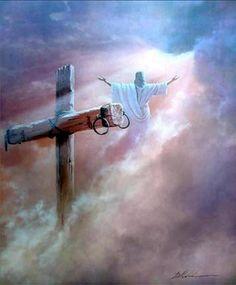 Jesus Christ has risen. He is alive! Images Du Christ, Images Bible, Pictures Of Jesus Christ, Religious Pictures, Religious Art, Jesus Art, God Jesus, Cross Wallpaper, Image Jesus