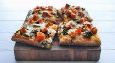 Roasted Butternut Squash Pizza...uses Pillsbury Artisan Pizza Crust, kale, sweet potato...