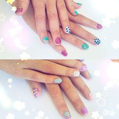 I painted my little step sisters nails yesterday! They chose the colours and designs. Those bright colours bring back nostalgia from my youth haha.  昨日、お父さんの彼女の娘達のねいるを塗ってあげました。色もデザインも子どもたちが選んだから、私なら選ぶデザインと全然違うけど、二人とも喜んでくれたから大丈夫ですよね!(笑) #nails #manicure #didmynails #bright #fun #nailart #nailartwow #funnails #colorful #family #ネイル #ネイルアート #セルフネイル #セルフネイル部 #おもしろい #ちっとハデだけどね #でも喜んでくれたからいいか