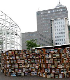 an outdoor book market in Leiden, Holland