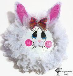 #EASTER BUNNY Face WREATH, Easter Bunny3Wreath, Bunny Wreath, Easter Wreath, Spring Bunny wreath,  Handmade by #FancyWreathLady on Etsy