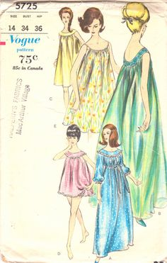1960s Vogue 5725 Misses Goddess Nightgown and Panties by mbchills