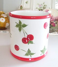 Vintage Retro Style Ceramic Cherries Cherry  Kitchen by debster222