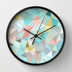 Pastel+Tris+Wall+Clock+by+Beth+Thompson+-+$30.00