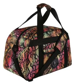 This exotic gym bag is one of a kind. Featuring a Tikiboo tropical print with pink, orange, yellow and black scales, it makes light work of carrying your kit. Throw in your towel, trainers and clothes and there's still room to spare.  Also great for travelling, why not use your snake print bag as hand luggage for quicker check-ins when flying. There's an internal pocket for smaller items, front pouch and strong handles with shoulder protector. Gym Bags, Hand Luggage, How To Make Light, Sports Logo, Orange Yellow, Snake Print, Trainers, Travelling, Studs