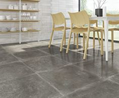 ARCANA Tiles | Tempo-SPR Antracita 59,3x59,3 cm. | Cordusio Blanco 33,3x100 cm. | kitchen | interiordesign #outdoor #indoor Stoneware, Tile Floor, Porcelain, Restaurant, Doors, Interior Design, Kitchen, Furniture, Spain