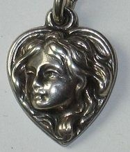 Victorian Sterling Silver Art Nouveau Puffy Heart Charm Wild Child Flowing Hair