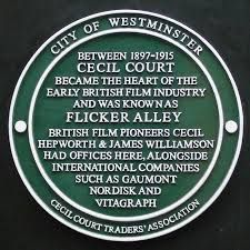 The Flicker Alley plaque from Cecil Court, where some of the action is set.