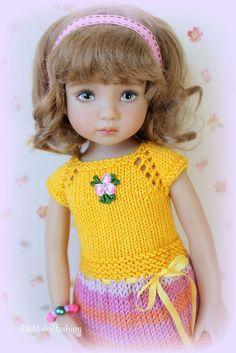 "R&M DOLLFASHION OOAK handknit set for Effner 13"" Betsy McCall Kish BJD 14"" dolls"