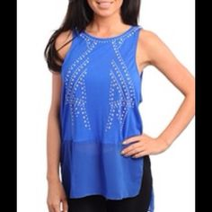 Beautiful Royal Blue Top  Sleeveless top with iridescent beads. 75% Rayon 25% Polyester. A8 Tops Tunics