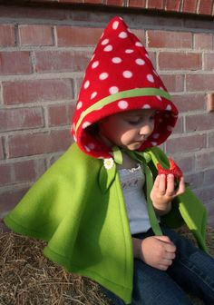 Mushroom Hooded Cape - Strawberry Hooded Cape - Woodland Gnome- Imagination Dress up- Halloween. $42.00, via Etsy.