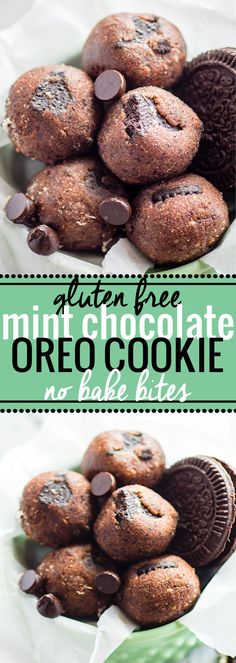No Bake Mint Chocolate Chip Oreo Cookie Bites! Gluten Free and vegan friendly No bake cookie bites that make for the perfect no bake healthy dessert or snack alternative. Kid friendly, refreshing, delicious, and simple to make! @cottercrunch