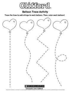 Day drawings These heart balloons need strings. Ask your child to draw along the dotted line to add strings to each balloon! Preschool Valentine Crafts, Daycare Crafts, Valentines Day Activities, Free Preschool, Preschool Printables, Preschool Worksheets, Preschool Learning, Preschool Activities, Teaching