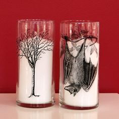 15 Wax Paper Transfer Tutorials to Wood, Glass & Canvas - Big DIY Ideas Hurricane Candle Holders, Diy Candle Holders, Diy Candles, Hurricane Glass, Glass Transfer, Photo Transfer, Halloween Crafts, Halloween Decorations, Creepy Halloween
