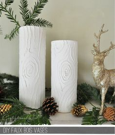 """""""faux bois"""" candles and/or jars. Use puff paint for tree lines, then paint over with white"""