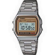 Casio Don Dub A158WEA9   $600 Iluminación de la pantalla  Una luz incorporada ilumina la esfera del reloj desde un lado.  Cronómetro - 1/100 seg. - 1 hora  El tiempo transcurrido, los tiempos parciales y el tiempo final se miden con una precisión de centésimas de segundo. El reloj tiene capacidad para cronometrar hasta una hora.