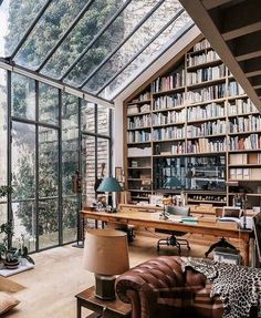 What an amazing library with wall of glass! Can I somehow corporate this on my house renovation plans? #housegoals #dreaminterior #interiordesign