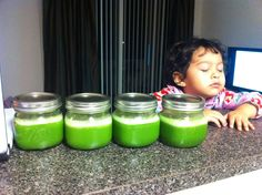 Ninja juice: 2 Granny Smith apples cored and cut into quarters, 1 lime peeled, 1 inch ginger, 1 cup kale, 1 cup baby spinach, 1/2 cucumber  Makes 1 Mason jar.