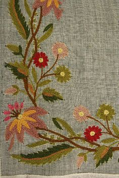 Culture: probably British Medium: wool, cotton Jacobean Embroidery, Hand Embroidery Stitches, Embroidery Fashion, Crewel Embroidery, Vintage Embroidery, Beaded Embroidery, Cross Stitch Embroidery, Machine Embroidery, Cross Stitching