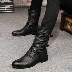 Korean version of Doc Martens of England pointed high boots trend wave of boots men's boots, fashion boots, men's boots shoes
