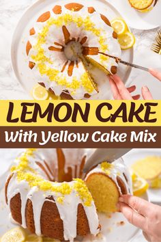 Try this lemon cake with yellow cake mix recipe for an easy dessert the family will love! You'll feel like a pro after learning how to make this scrumptious cake. Cake Mix Desserts, Lemon Desserts, Lemon Recipes, Fruit Recipes, Easy Desserts, Dessert Recipes, Lemon Cake Mixes, Yellow Cake Mixes, Box Cake Recipes