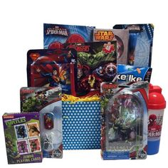 Ideal Christmas Gift Baskets for Boys  Children's activity and game set, Christmas gift baskets for kids  Spiderman has called on all heroes to deliver your warmest wishes for Get Well or Happy Birthday to those particular young ones  Super Hero Birthday Gift Baskets for Kids will send Spiderman and all heroes to the rescue.  This collection includes activities and novelties from Spiderman, The Avengers, Superman and the Ninjas and two boxes of candies.