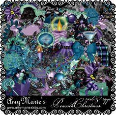 Peacock Christmas [AM_PeacockChristmas.zip] - $1.00 : AmyMaries Kits