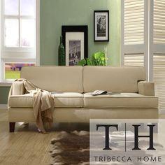 TRIBECCA HOME Stewart Beige Track Arm Modern Sofa | Overstock.com Shopping - Great Deals on Tribecca Home Sofas & Loveseats