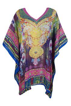 0df9c6f1f0d291 Mogul Interior - Mogul Womens Beach Cover Up Caftan Dress Vibrant Shades  Digital Print V-Neck Sexy Bikini Resort Wear - Walmart.com