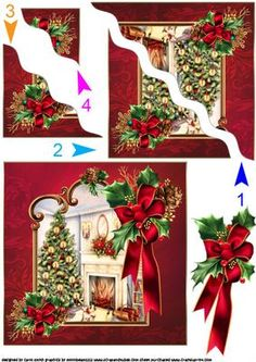 a wavy side stacker sheet for Christmas which has a fireside Christmas scene framed framed and trimmed with lovely big satin bow with holly and pine cones. thank you for looking please take a peek at my other items Christmas Card Images, Christmas Cards To Make, Xmas Cards, Simple Christmas, Christmas Sheets, Christmas Lanterns, Christmas Books, Christmas Decoupage, Christmas Paper Crafts