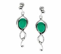 Carolyn Pollack Paradise Green Chalcedony Sterling Earrings