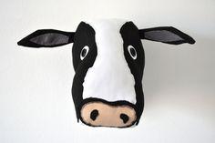Cow Faux Taxidermy/CowTrophy Head/ Fabric Animal Trophy/OOAK/wall mount cow head OOAK