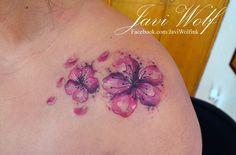Cherry Blossom Flowers Tattoo. Tattooed by @javiwolfink