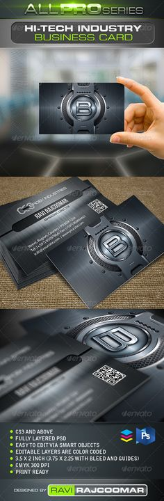 HiTech Industry Business Card — Photoshop PSD #identity #company • Available here → https://graphicriver.net/item/hitech-industry-business-card/2522095?ref=pxcr