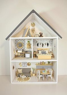 This is an unique handmade modern miniature scale Doll house. This charming Little Doll house is handmade from wood. The colors and style of the House are designed for girls or boys to play with them. We sawn wood at the exact measurement and them we Wooden Dollhouse, Wooden Dolls, Diy Dollhouse, Dollhouse Miniatures, Handmade Wooden, Handmade Toys, Handmade Headbands, Handmade Crafts, Doll House Plans