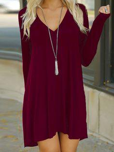 vestido+camiseta+cuello+V+recto-rojo+12.92