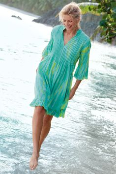 Marbella Dress - Tie Dye Dress, Cotton, Petite Ruffled Hem | Soft Surroundings