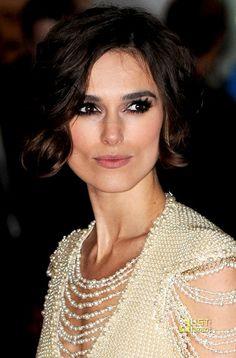 Keira #Knightley- smokey eyes, nude lips, beautiful white beaded gown