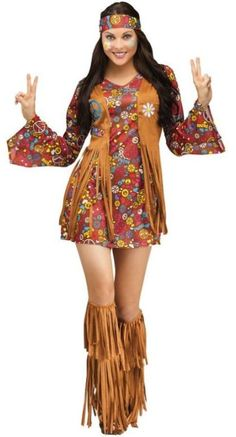 This Flower Child Hippie costume includes a hippie print mini dress with bell sleeves, attached fringe vest with patches, headband and fringe boot covers. Flower Child Hippie Costume, Hippy Costume, Peace and Love Hippie Costume Costume Halloween, Retro Costume, Halloween Fancy Dress, Halloween Carnival, Diy Carnival, Carnival Birthday, Spirit Halloween, Plus Size Halloween, Adult Halloween
