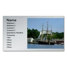 Charles Morgan Sail Boat - Mystic CT Business Card printed on a silver colored background.  Other colors available.