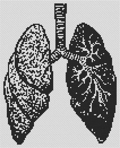 Contemporary Cross Stitch Kit 'Lungs' Human Body Custom Made CrossSticth Kit